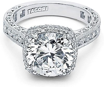 Simple Tacori RoyalT Cushion Halo Diamond Engagement Ring since