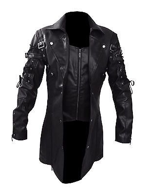 STEAMPUNK MEN'S LEATHER COAT JACKET GOTHIC TRENCH - New Arrival