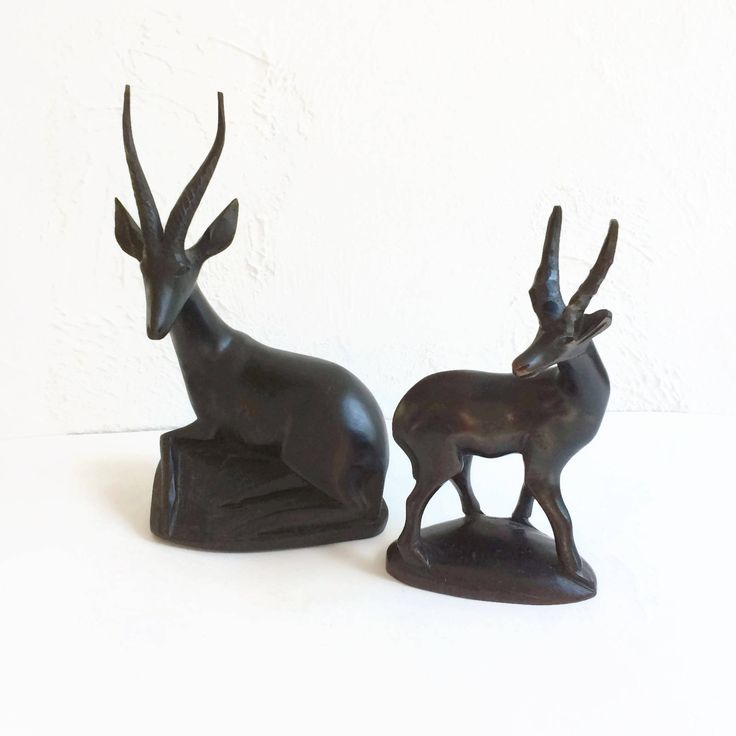 Hand Carved Gazelles Pair Wooden Statues Figures, Home Decor Accents, Tribal Decor, Interior Accents, Vintage Home Decor by MyVintageApartment on Etsy