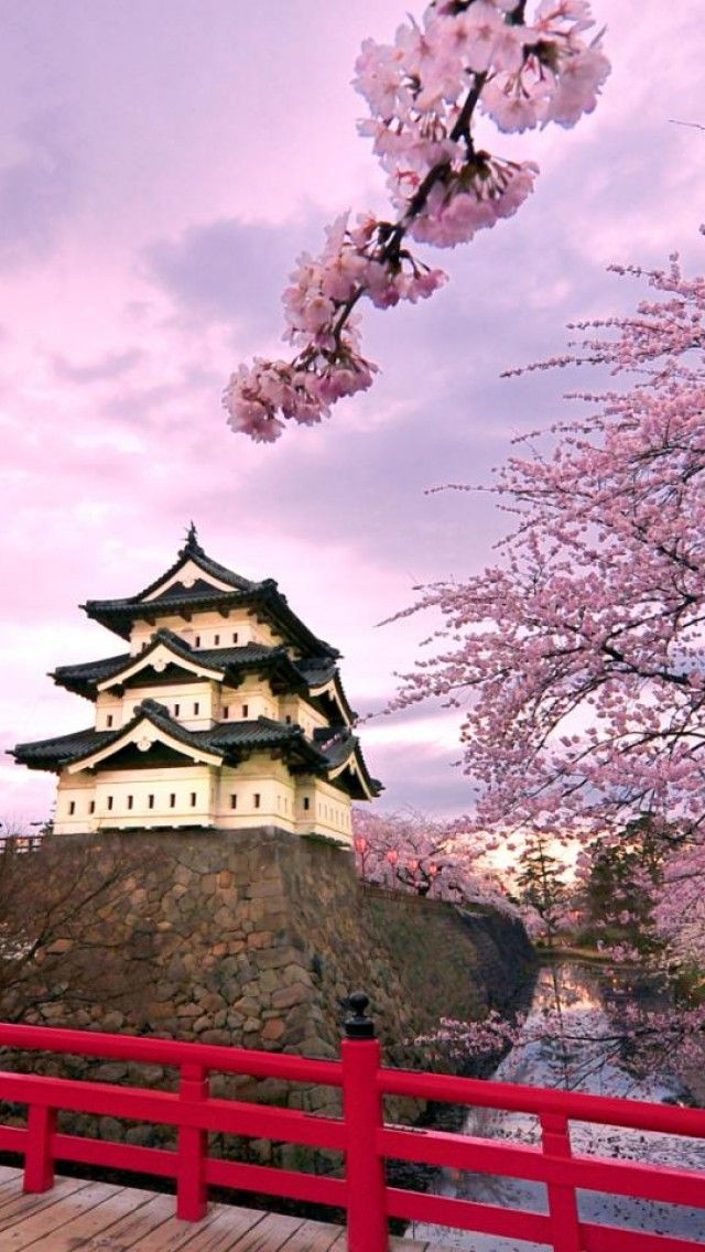 Hirosaki Castle, Japan. I would want to go here! but I would need to learn how to speak Japanese first....