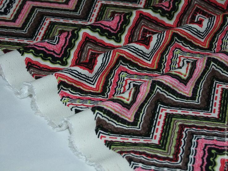 Купить -20% Мissoni креп шеврон, Италия - комбинированный, итальянские ткани, итальянский хлопок