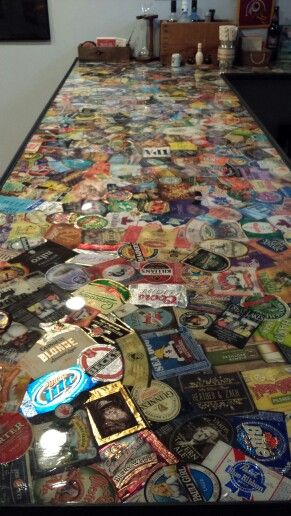 Beer Label Bar Top Diy Bar Bars For Home Man Cave