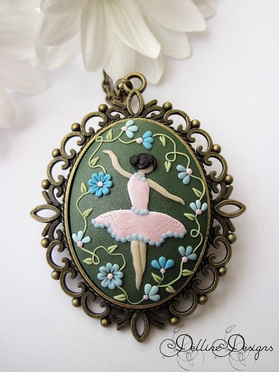 Dancing Among Flowers Polymer clay pendant by DellineDesigns
