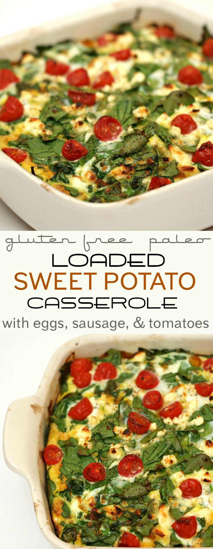 This loaded sweet potato casserole is a perfect way to make a healthy casserole that can be eaten for breakfast, lunch or dinner! Click through for a video tutorial and the recipe.