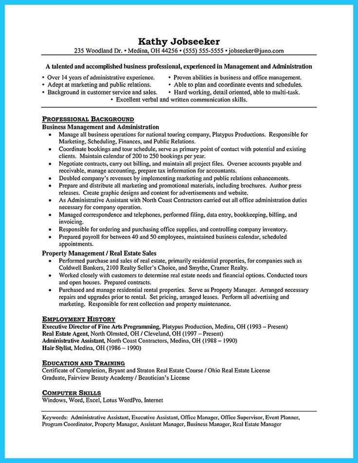 14 best Administrative Functional Resume images on Pinterest Job - administrative manager resume