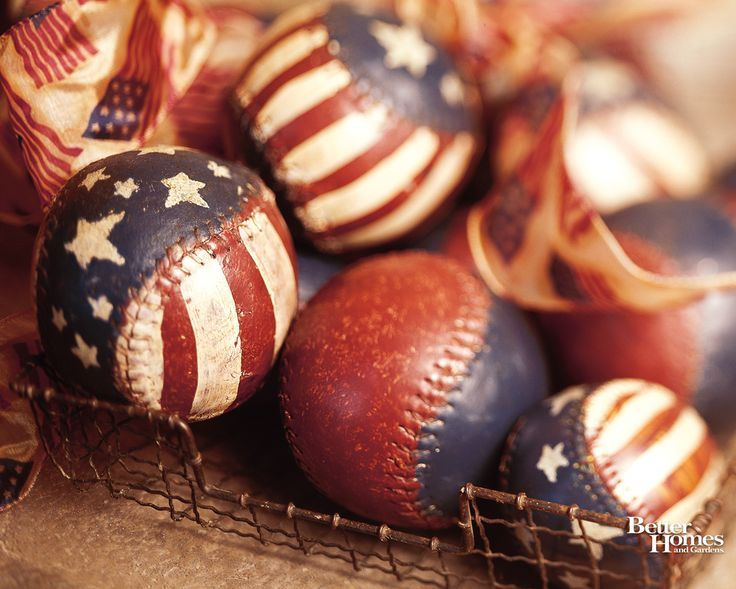 Paint old softballs/baseballs - cute center pieces for Patriotic Holidays!