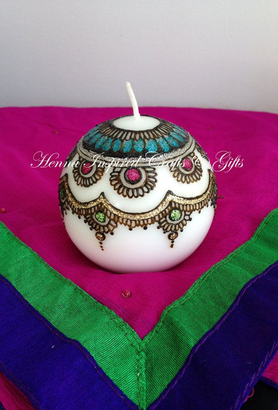 Candle Ball Candle Hand painted  Henna by HennaCraftsbyPramila