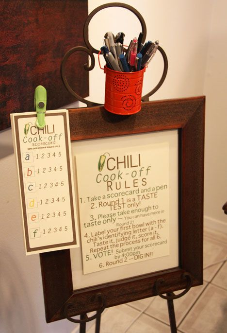 Chili cook off rules and scorecard. I think I'm going to modify it for a salsa cook off at work!