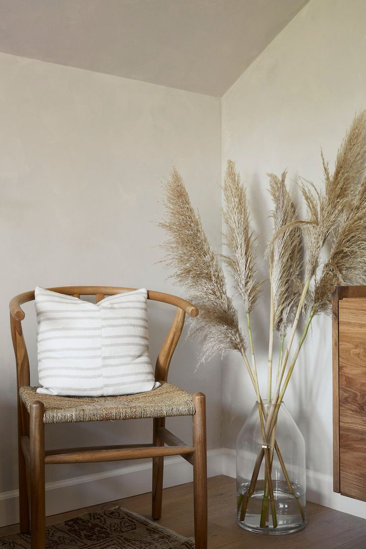 Stylish Beige Corner With Hayneedle Wishbone Chair And Pampas Grass In A Large Vase In 2019
