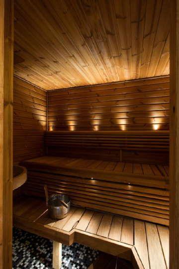 Sisustus - sauna - näyttävä valaistus