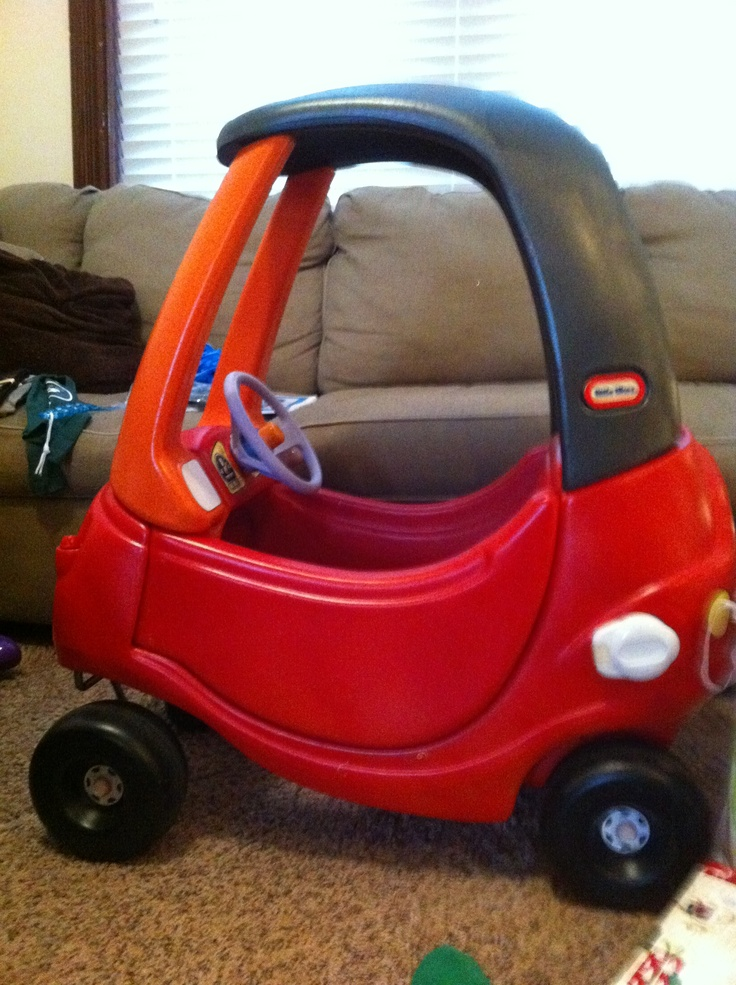Typical old, hand-me-down, Little Tykes Car Coupe turned into a BRAND NEW RIDE. Used Krylon FUSION Spray Paint for plastics!