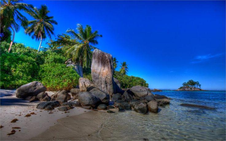 Природа пейзаж море небо летний пляж пальмы рок-айленд Украшения Дома Холст Печать Плакатов