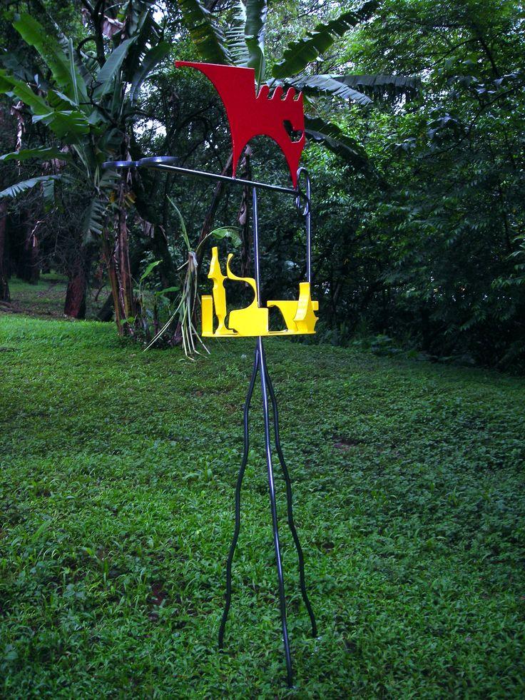 """Girouette """"Dragão Vermelho"""" Escultura de jardim"""