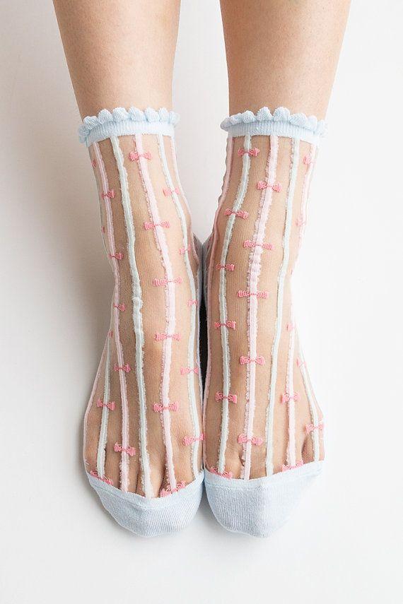 Women New Hezwagarcia Pastel Blue Cute Ribbon Striped Ruffle Frill Nylon Sheer See Through Ankle Socks