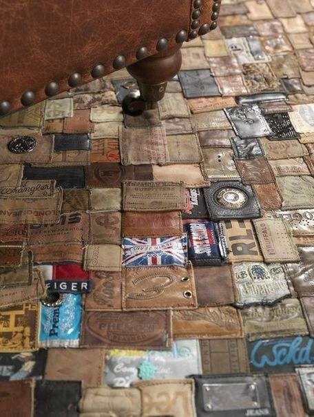 Recycled Jean Part Rugs, covoare din etichetele de piele de la jeans