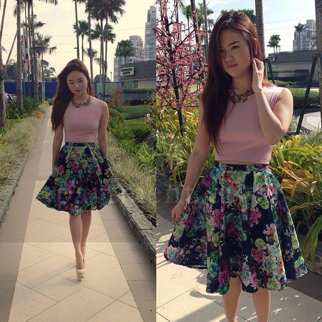 Floral Print Full Circle Skirt