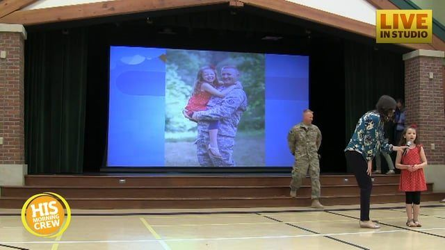 She thought it was an ordinary assembly.   Source: http://hottopics.tv/story/military-dad-gives-his-daughter-the-sweetest-homecoming-surprise-ever/