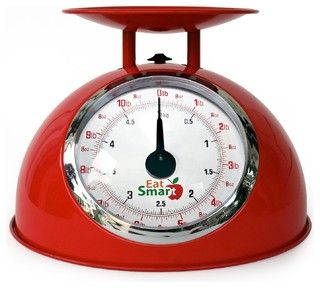 EatSmart Precision Retro Mechanical Kitchen Scale, Red - Modern - Timers Thermometers And Scales - by Amazon