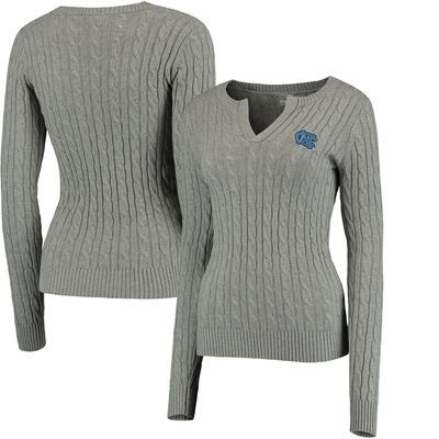 North Carolina Tar Heels Colosseum Women's Alma Mater Cable Sweater - Gray