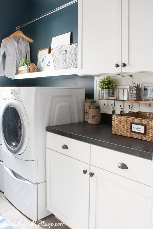 Navy Laundry room decor | The Lilypad Cottage