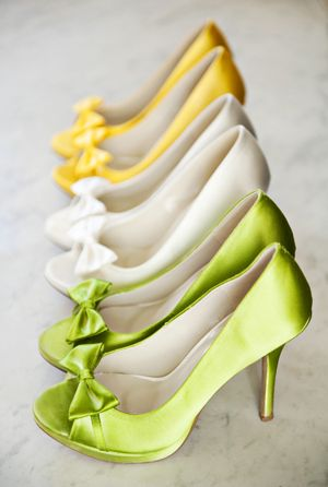 Fun coloured wedding shoes! Instead of all of the girls having the same colour, they can have within the wedding colours (white, green, pewter, and maybe yellow?!) Cute idea. Really like the green.