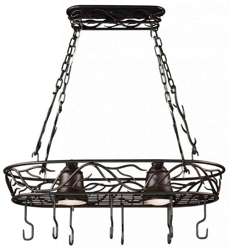 Twigs 2 Light Pot Rack. Inspired by nature, this elegant collection blends the vibrance of a climbing vine with the soft glow of light.  Twigs is ideal for both Asian-influenced and rustic or country-style rooms.