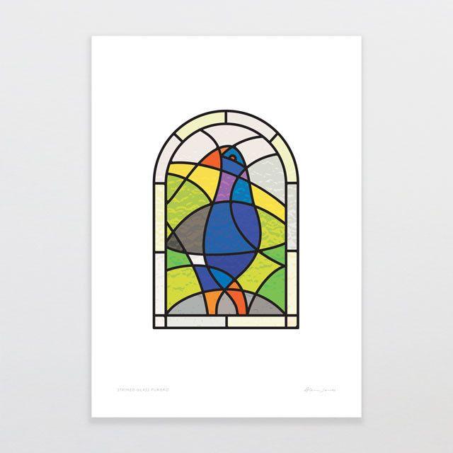 Stained Glass Pukeko   Glenn Jones Art