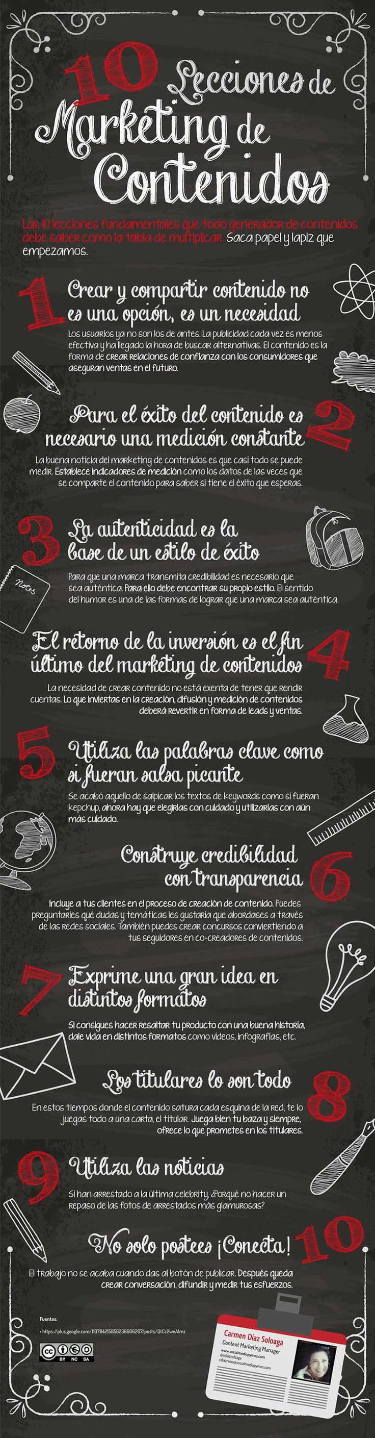 Una excelente infografía, íntegramente en español, que nos ofrece diez breves lecciones sobre el marketing de contenidos.