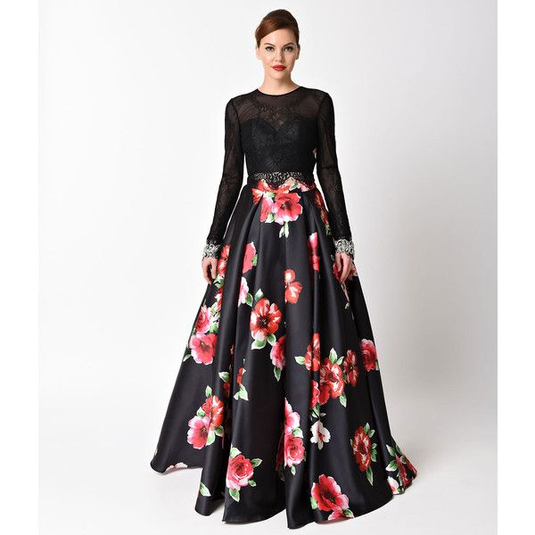 Black Floral Print Long Sleeve Two Piece Gown ($326) ❤ liked on Polyvore featuring dresses, gowns, black, long sleeve lace dress, plus size evening dresses, long sleeve gowns, prom gowns and lace prom dresses
