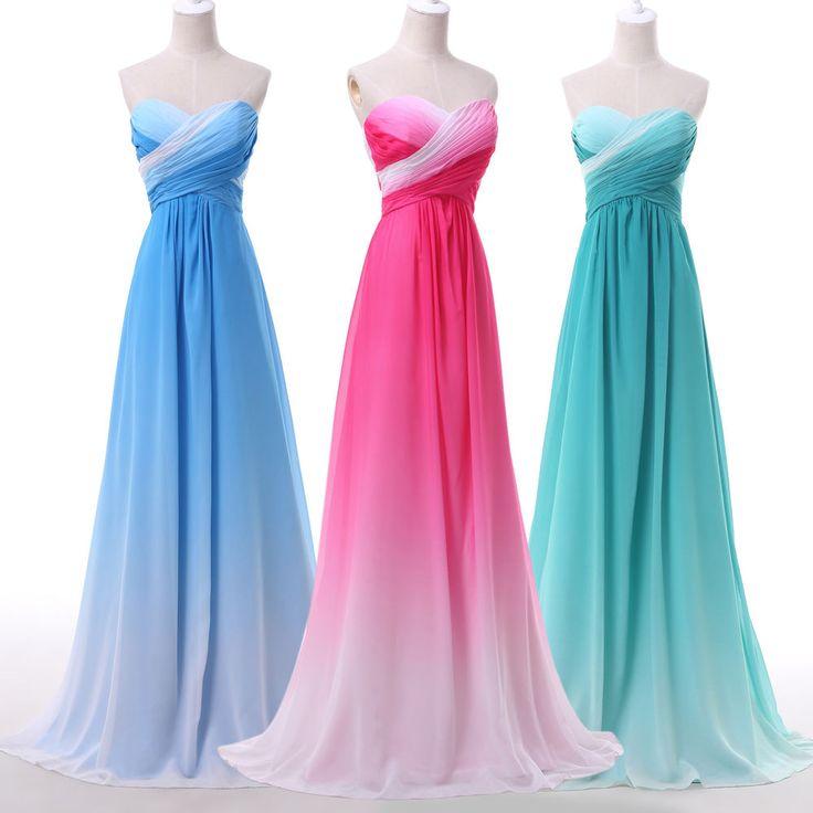 Stunning Gradient Evening Formal Ball Gown Party Prom Dresses Wedding Dress Long #GraceKarin #BallGown #Formal