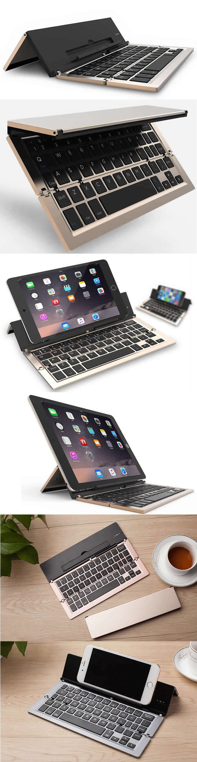 Universal iPad iPhone Bluetooth Folding Keyboard for Smartphones and Tablets