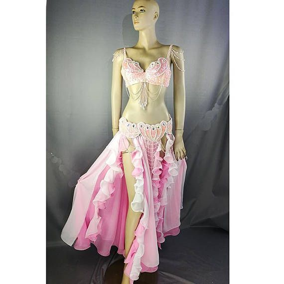 TF2152+SK37 Hand Beaded Belly Dance Samba Costume gold color bra belt skirt+neck 4 pcs GOLD COLOR