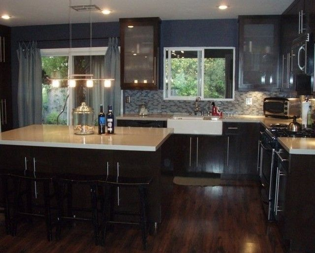 Pictures of kitchens with dark cherry cabinets floors for Black kitchen cabinets with dark floors