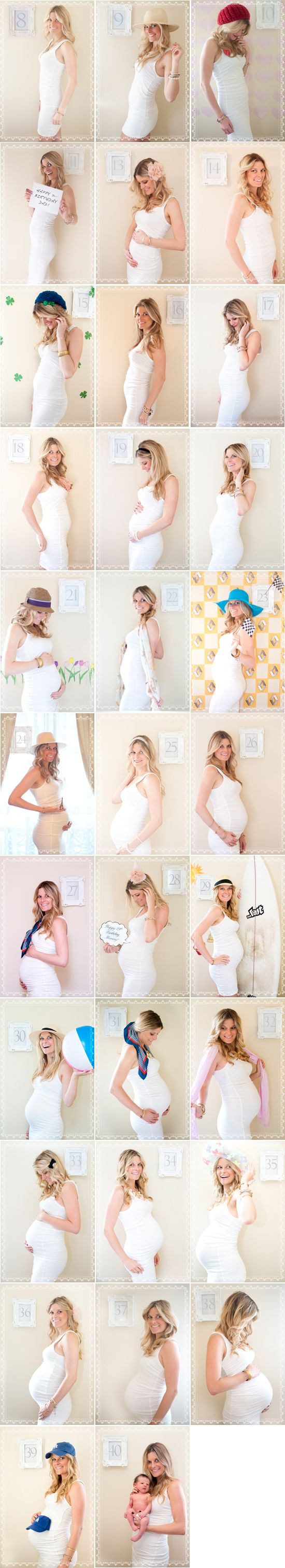 Adorable!  This woman took a photo of herself each week of her pregnancy in the same outfit to document the changes.