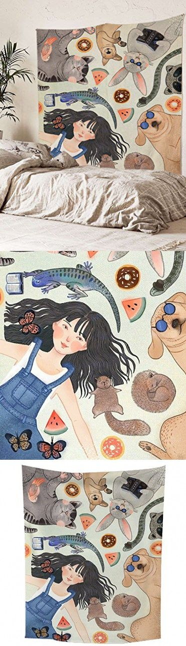 """Cute Girl Wall Tapestry Fabric Wallpaper Home Decor,60""""x 80"""",Twin Size"""
