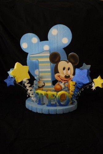 BABY MICKEY MOUSE 1ST BIRTHDAY CAKE TOPPER/CENTERPIECE