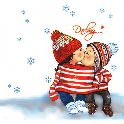 Children's Illustration: Winter Kiss