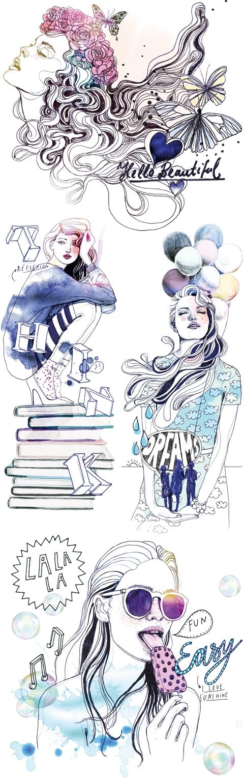 Silke Werzinger / 2014 Astrology of Marie Claire Paris by colagene, illustration clinic, via Behance