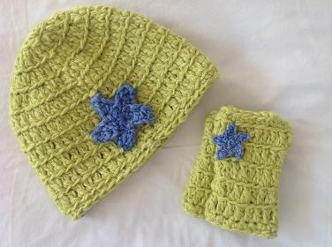 Star beanie and wrist warmers in lime brights.