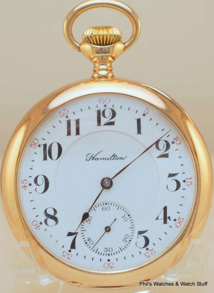 16 Size 23 Jewel Hamilton 950 14K Solid Gold Railroad Pocket Watch Running  #23jewel950