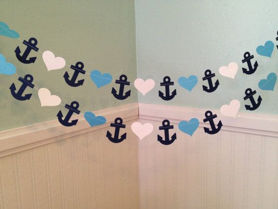 Ankers en harten papier Garland  Ahoy It's a Boy door ClassicBanners