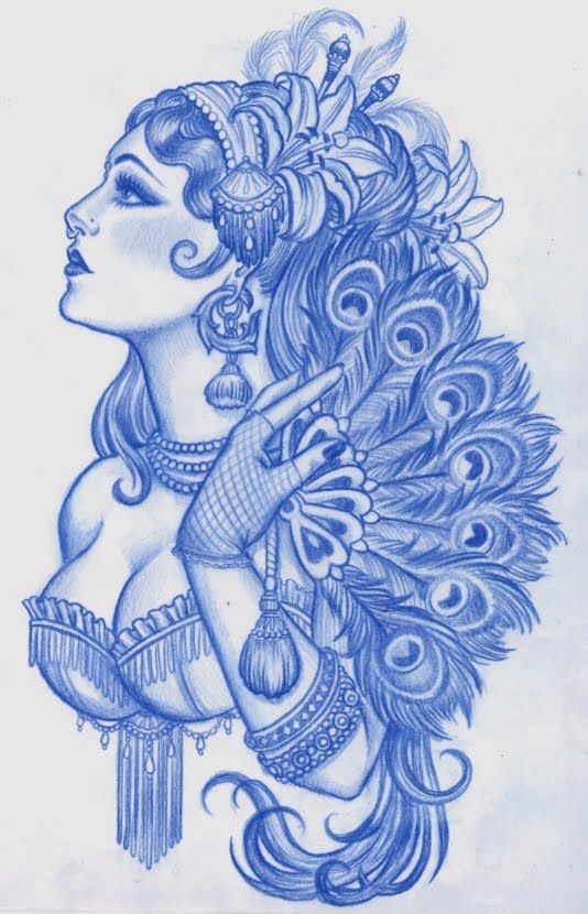 Lady woman babe fan peacock feathers nose ring sexy Tattoo Flash Art ~A.R.