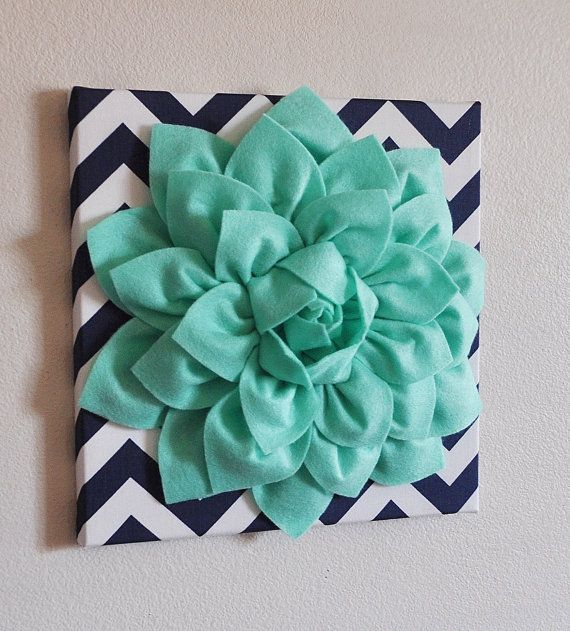 Large Mint Green Flower Wall Hanging -Flower Wall Decor-Navy Chevron Home Decor -NEW COLOR-
