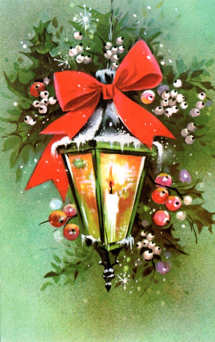 Vintage 1970's Christmas lantern card