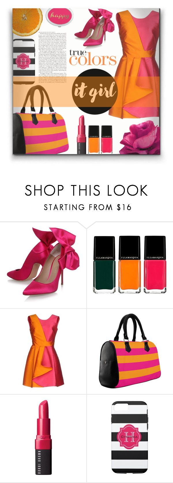 """Fun & Colorful Pink & Orange"" by colormegirly ❤ liked on Polyvore featuring Kurt Geiger, Illamasqua, MARCOBOLOGNA, Bobbi Brown Cosmetics, colorful, handbags and polyvoreset"
