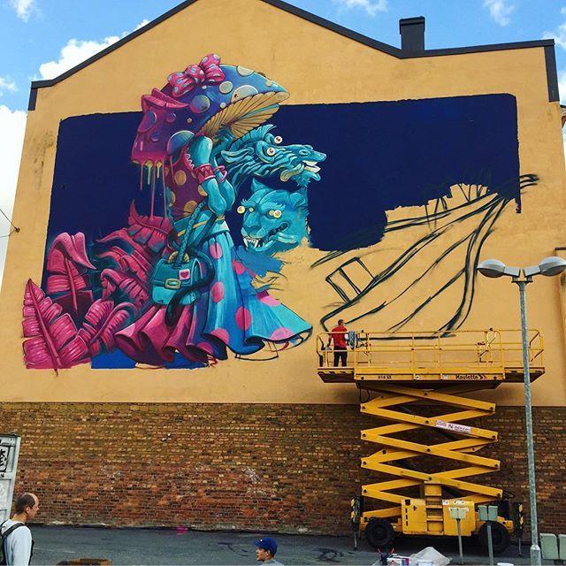 Inprogress in Turku, Finland for @katutaide  #upea16 #erase #arsek #turku #mural #graffiti #big #lady #night #finland