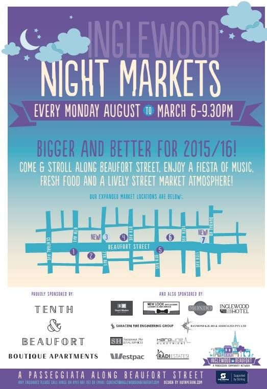 The Monday Night Market transforms Beaufort Street in Inglewood in to a lively marketplace. Boring old Mondays became a mini festivals with hundreds of people, delicious food and a variety of stalls. Don't cook on Monday nights! Come along and experience the atmosphere. The Market is on every Monday night from August 2015 to March 2016 from 6.00pm to 9.30pm.