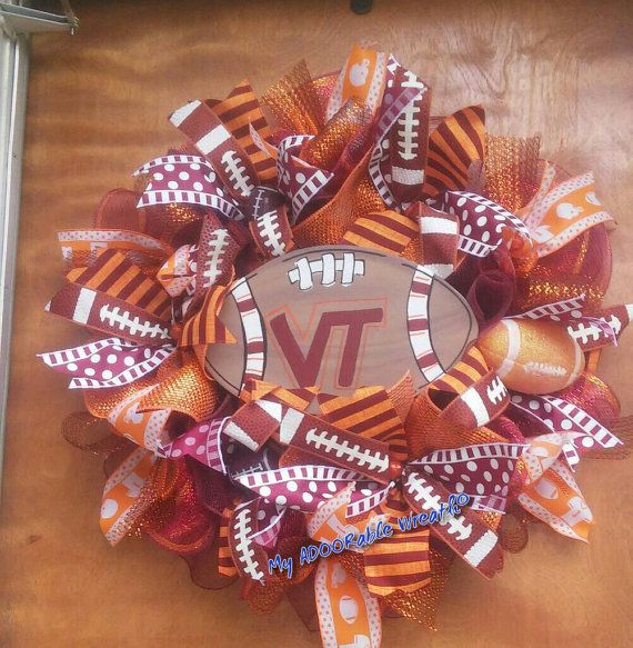 Check out this item in my Etsy shop https://www.etsy.com/listing/453705784/virginia-tech-wreath-vt-football-wreath
