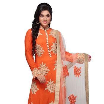 Dark Orange Faux Georgette Readymade Churidar Kameez