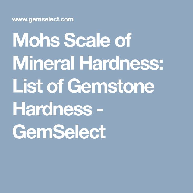 Mohs Scale of Mineral Hardness: List of Gemstone Hardness - GemSelect